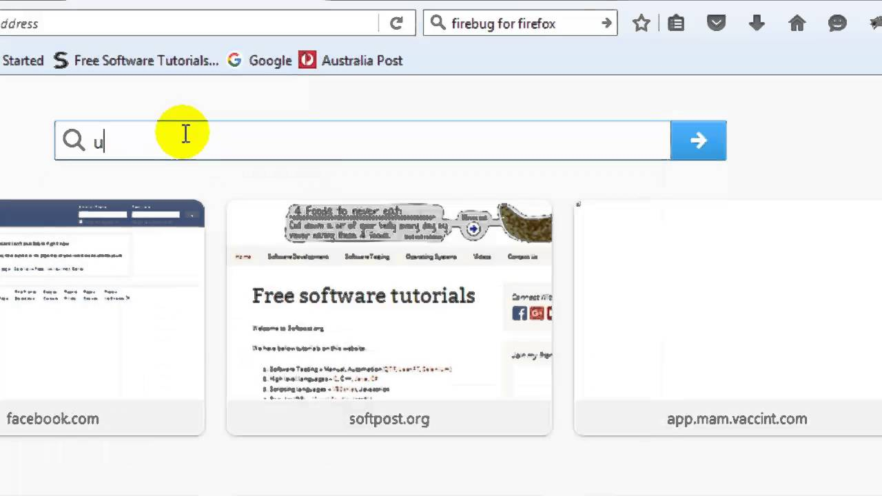Firefox how to get cursor in search