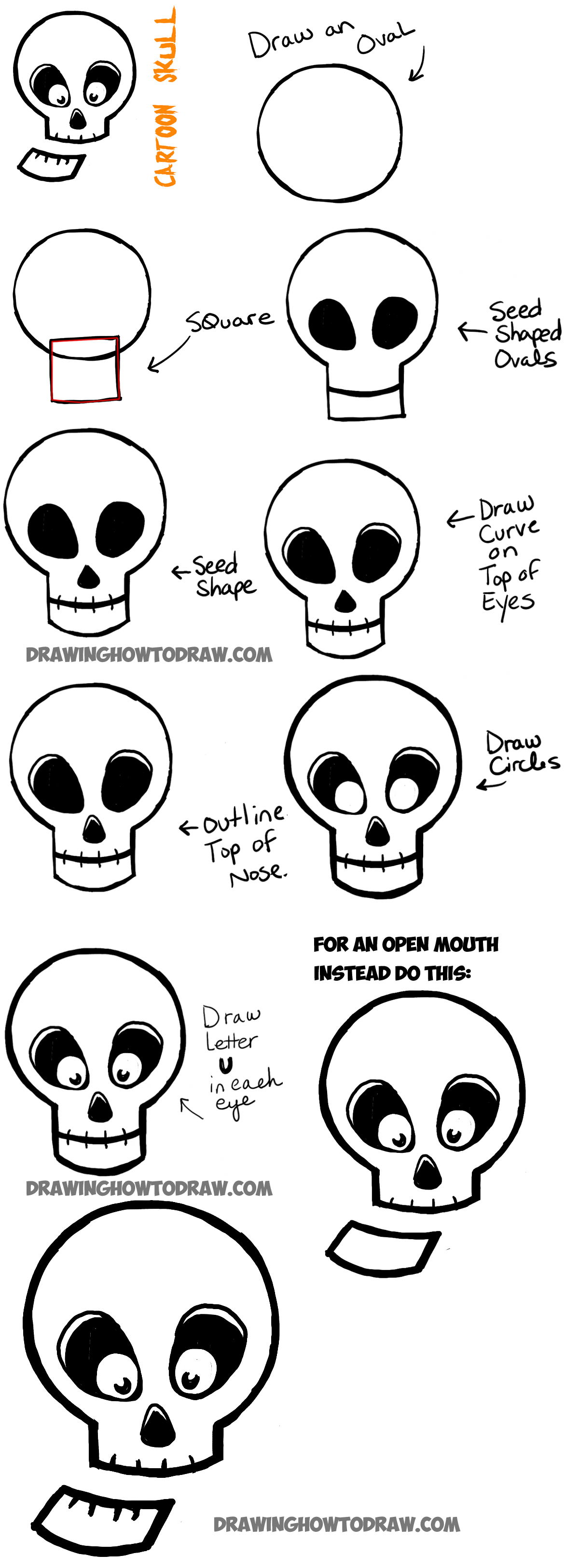 Simple steps on how to draw a skull