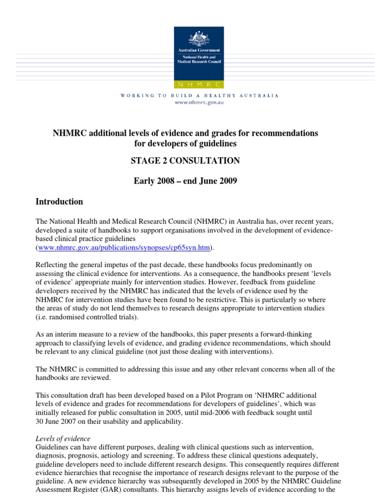Nhmrc guidelines level of evidence