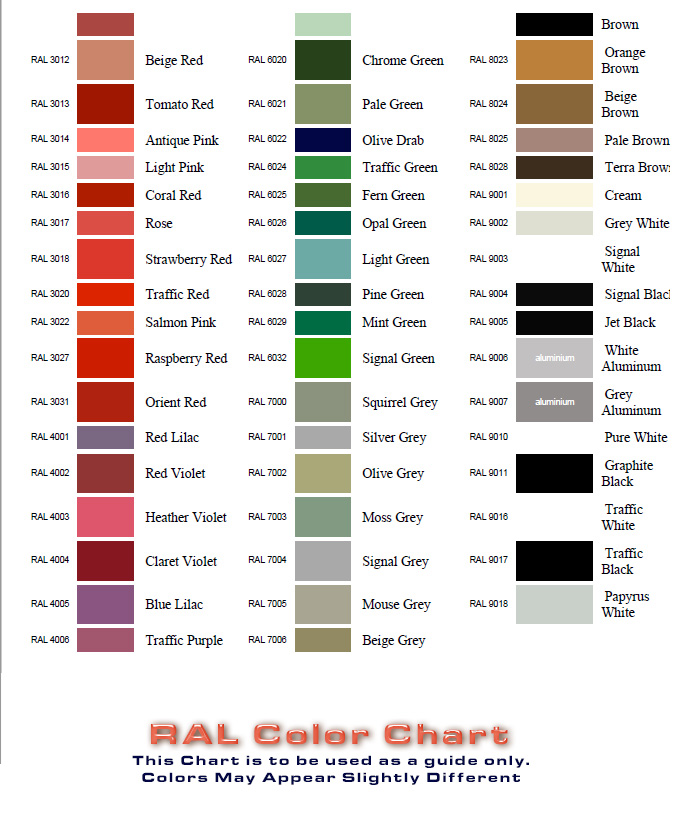 Ral colour chart pdf download